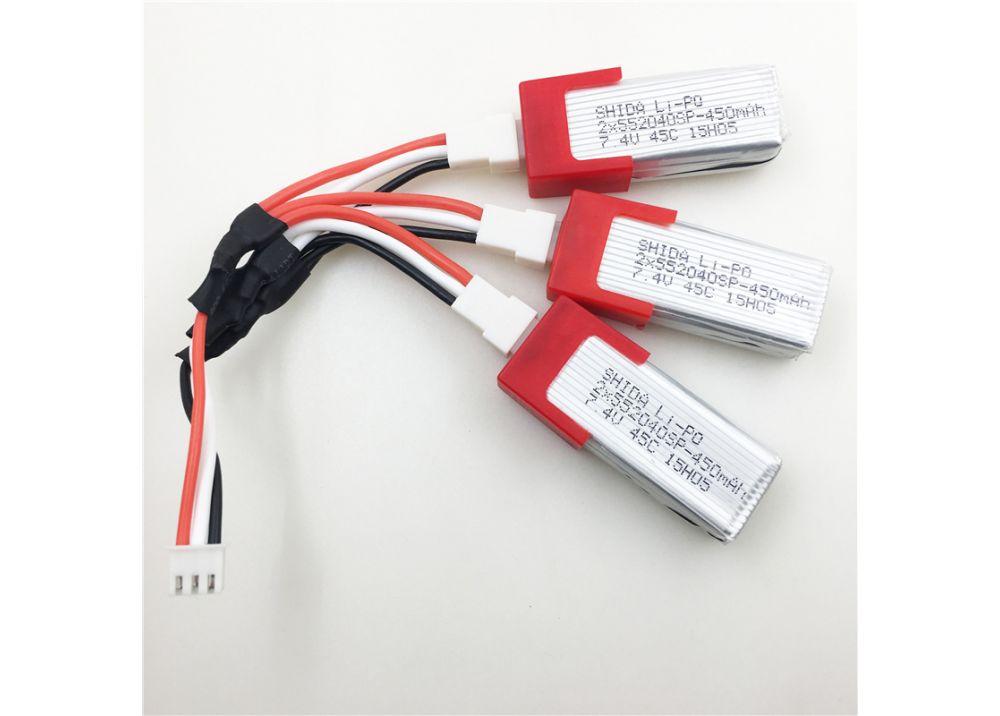 3PCS * 7.4V 450mAh バッテリー  + USB充電ケーブル + 変換ケーブル  XK K120 RC ヘリコプター用