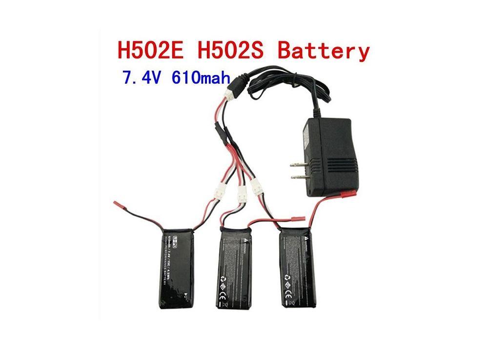 バッテリー 3PCS + 充電器 Hubsan X4 H502S H502E RCクアッドコプター用7.4V 610mAhバッテリー 3PCS + 充電器