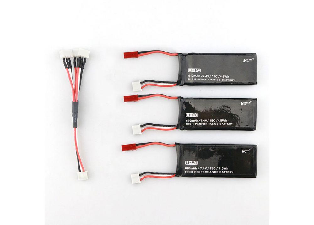 バッテリー * 3個 Hubsan X4 H502S H502E RCクアッドコプター用7.4V 610mAhバッテリー + 充電ケーブル