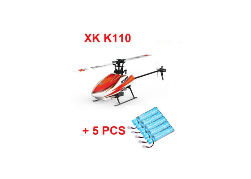 XK K110 BLAST  BNF 送信機無し  + 5PCS 3.7V 520mAh 30C Li-poバッテリー   6CH ブラシレス 3D 6Gシステム RCヘリコプター BNF