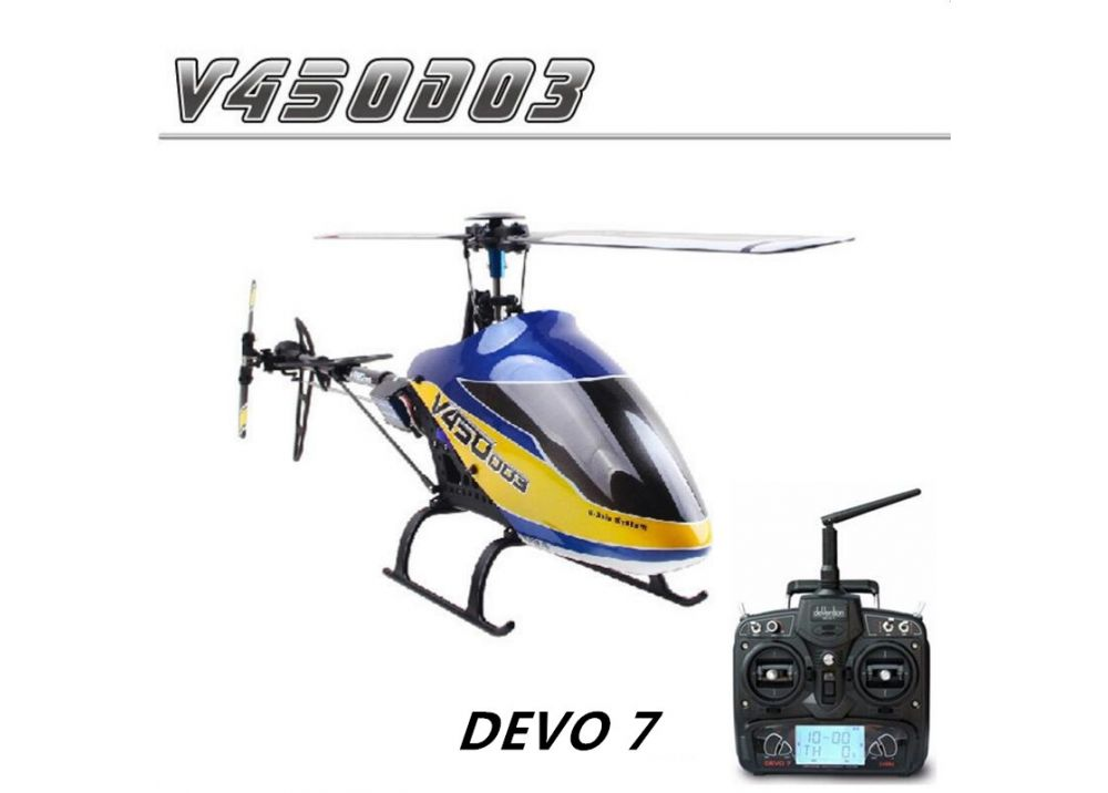 Walkera V450D03 DEVO 7送信機フルセット 6CH 3D 6軸ジャイロ ブラシレス RC ヘリコプター RTF 2.4GHz
