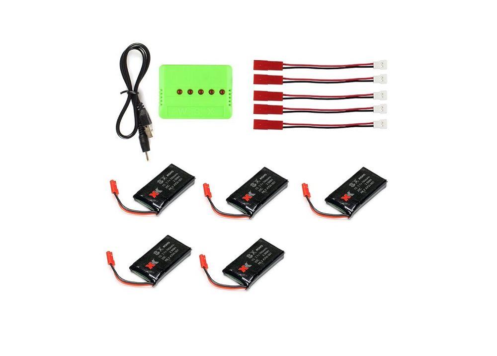 XK X250 5個* 3.7V 780mAh バッテリー +  充電器 + 5個変換ケーブル
