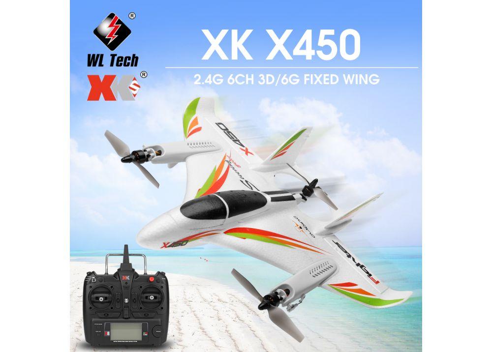 XK X450 6CH 3D/6G ブラシレス固定翼 RC飛行機 垂直離陸/着陸 2.4GHz RTF