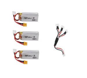 3個/セット JJRC M03 / Eachine E160 RCクアッドコプター用スペアパーツ 7.4V 700mAhバッテリー*3個+充電ケーブル