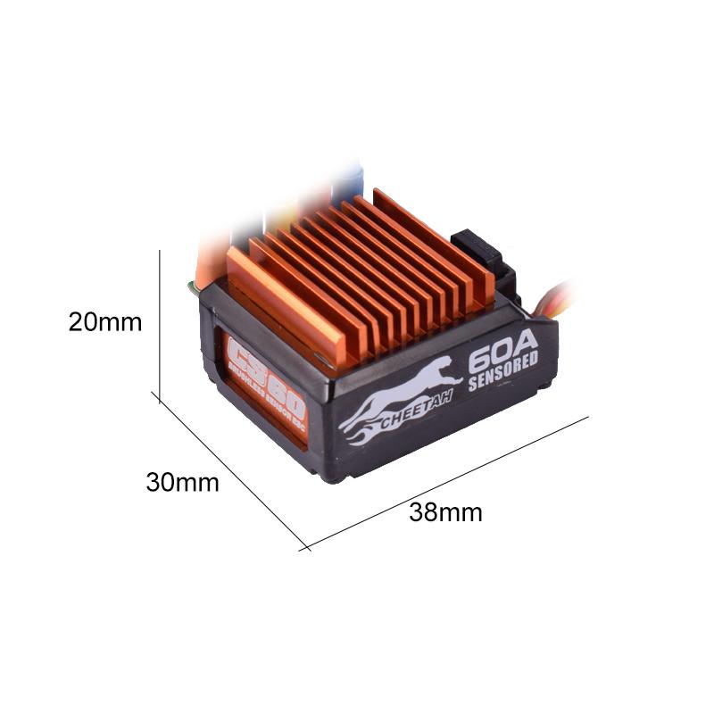 SkyRC Cheetah 21.5T 1600KV ブラシレスモーター + 1/10 60Aセンサー付き ESC プログラムカードコンボ パワーシステム 1/10 1/12 RCカー用