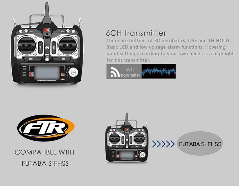 XK K100 Falcon 6CH 3D6G システム フライバーレス RCヘリコプター RTF 2.4GHz