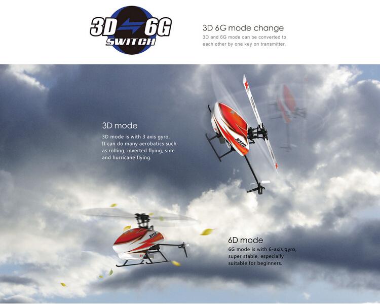 XK K110 BLAST ブラシレスRCヘリコプター 3D 6Gモード切替可能 RTF 2.4GHz FUTABA S-FHSSと互換性あり